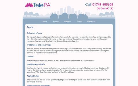 Screenshot of Terms Page telepa.co.uk - Terms | TelePA - captured Sept. 21, 2018