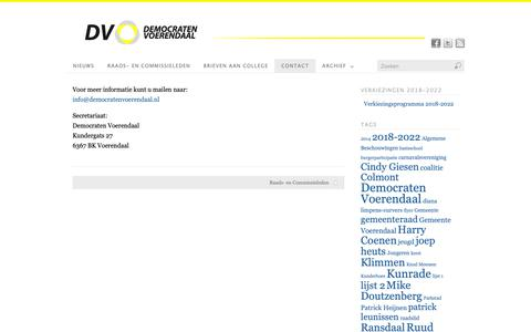 Screenshot of Contact Page democratenvoerendaal.nl - Contact | Democraten Voerendaal - captured Oct. 27, 2018