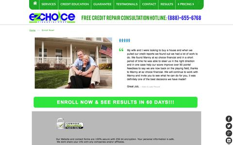 Screenshot of Signup Page ezchoicefinancial.com - Enroll Now! - captured Oct. 1, 2014