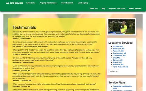 Screenshot of Testimonials Page acyardservices.com - Testimonials - captured Nov. 19, 2016