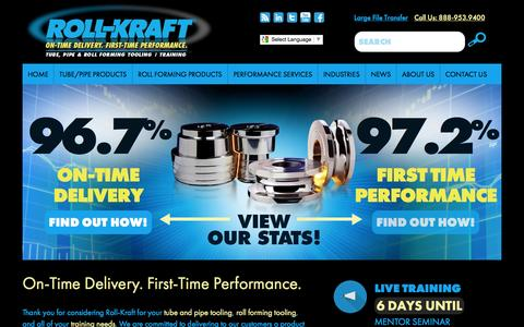Screenshot of Home Page roll-kraft.com - Roll-Kraft   Roll Forming   Roll Tooling   Roll Forming Tooling   Tube and Pipe Tooling - captured Aug. 13, 2015