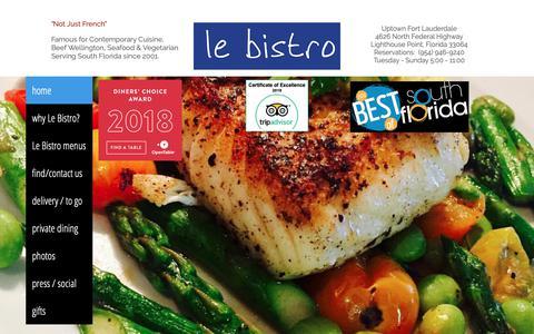 Screenshot of Home Page lebistrorestaurant.com - Restaurant | 4626 N Federal Hwy | Le Bistro - captured Sept. 27, 2018