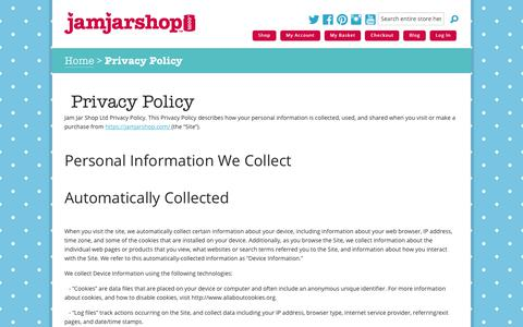 Screenshot of Privacy Page jamjarshop.com - Privacy Policy | Jam Jar Shop - captured Oct. 19, 2018