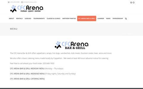 Screenshot of Menu Page cfcarena.com - Menu | CFC Arena - captured Dec. 5, 2015
