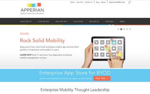 Screenshot of Home Page apperian.com - Enterprise Mobility Management for the Mobile Enterprise | Apperian - captured July 11, 2014