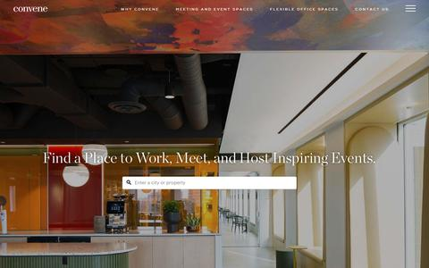 Screenshot of Home Page convene.com - Modern Office Spaces, Meeting Spaces, and Event Venues | Convene - captured June 18, 2019