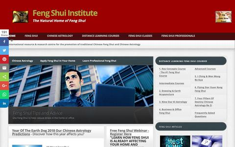Screenshot of Home Page feng-shui-institute.org - Feng Shui Institute International - Traditional Chinese Feng Shui and Chinese Astrology - captured Oct. 22, 2018