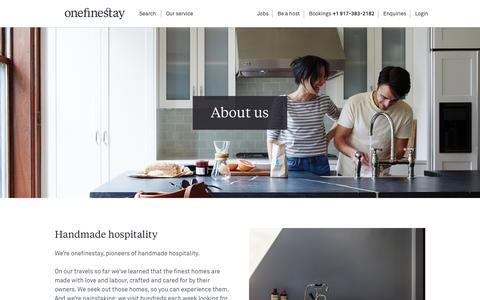 Screenshot of About Page onefinestay.com - About us | onefinestay - captured Oct. 26, 2015