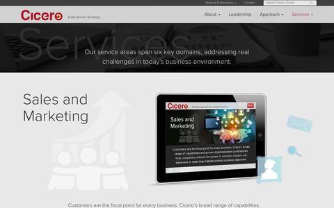 Screenshot of Services Page cicerogroup.com captured Oct. 28, 2014