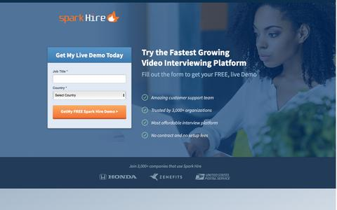 Screenshot of Landing Page sparkhire.com - Spark Hire | Video Interviewing Platform - captured Dec. 16, 2016