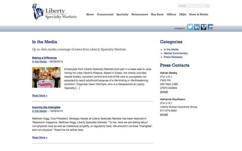 Screenshot of Press Page libertyspecialtymarkets.com - In the Media Archives - Liberty Specialty MarketsLiberty Specialty Markets - captured Sept. 30, 2014