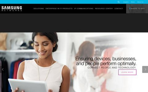Screenshot of Home Page samsung-networks.com - Samsung Networks   Enterprise WiFi Solutions   Hospitality & Healthcare - captured July 9, 2018