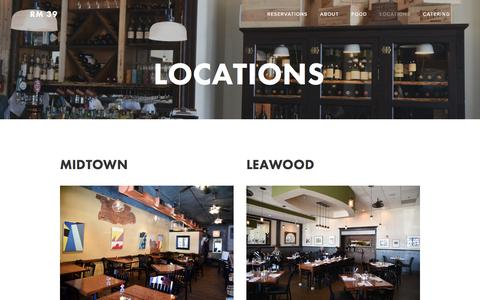 Screenshot of Locations Page rm39.com - Locations — Rm 39 - captured Dec. 1, 2016