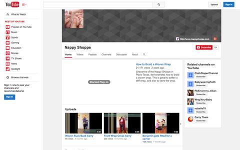 Screenshot of YouTube Page youtube.com - Nappy Shoppe  - YouTube - captured Oct. 27, 2014