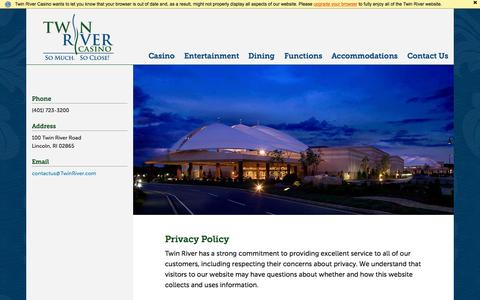 Screenshot of Terms Page twinriver.com - Terms of Use - Twin River Casino - captured Nov. 20, 2015