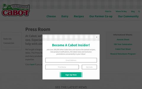 Screenshot of Press Page cabotcheese.coop - Press Room | Cabot Creamery - captured March 18, 2019