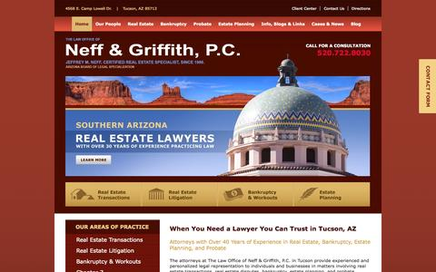 Screenshot of Home Page nefflawaz.com - Chapter 11, 13 Bankruptcy Attorney Tucson | Wills and Trust, Probate & Real Estate Lawyers Tucson, AZ - Neff & Griffith, P.C. - captured Oct. 2, 2014