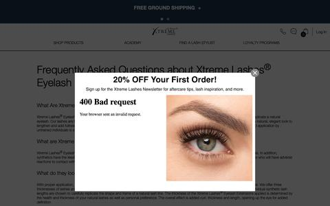 Screenshot of FAQ Page xtremelashes.com - Frequently Asked Questions About Eyelash Extensions | Xtreme Lashes - captured Sept. 27, 2018