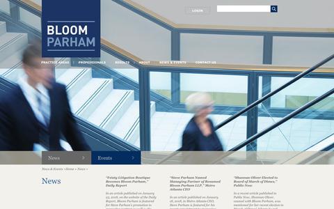 Screenshot of Press Page bloom-law.com - News Archives - Bloom Law - captured Jan. 30, 2018