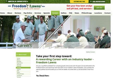 Screenshot of Jobs Page freedomlawnsnc.com - Freedom Lawns USA Inc. - Corporate Site - captured Feb. 10, 2016