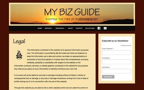 Screenshot of Terms Page mybizguide.com - Legal > My Biz Guide - captured Sept. 20, 2018
