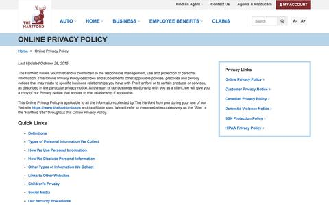 Online Privacy Policy | The Hartford