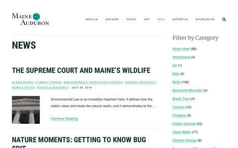 Screenshot of Press Page maineaudubon.org - News   Maine Audubon - captured July 27, 2018