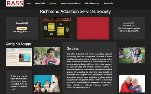 Screenshot of Services Page richmondaddictions.ca - Services - captured Oct. 7, 2014