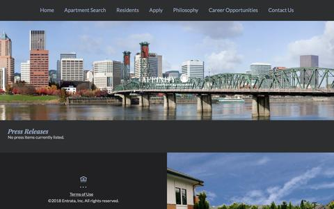 Screenshot of Press Page affinityproperty.com - Affinity Property Management (OR) | Press Releases - captured March 11, 2018