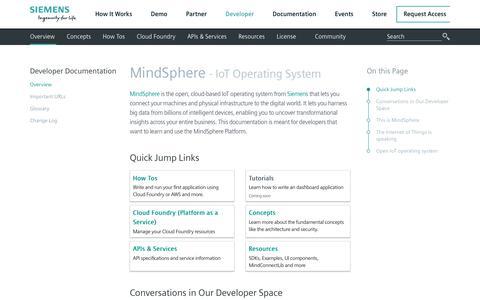 Screenshot of Developers Page mindsphere.io - Developer Documentation - captured Dec. 6, 2018