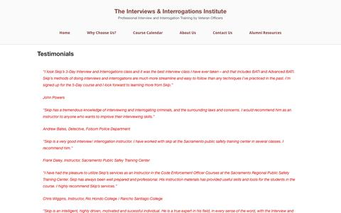 Screenshot of Testimonials Page getconfessions.com - Testimonials - The Interviews & Interrogations Institute - captured Oct. 15, 2017