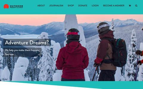 Screenshot of Home Page outdoorwomensalliance.com - Outdoor Women's Alliance - captured Sept. 20, 2018