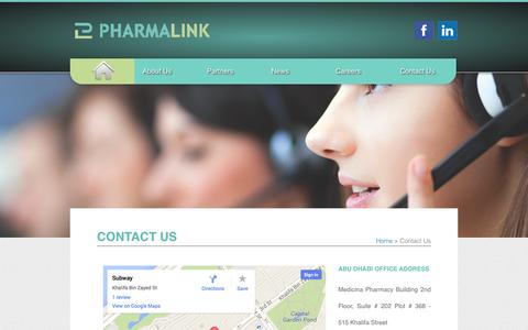 Screenshot of Contact Page pharmalink.ae - Pharmalink – Provides quality, healthy and cost effective medications to improve the quality of life. - captured Nov. 1, 2014