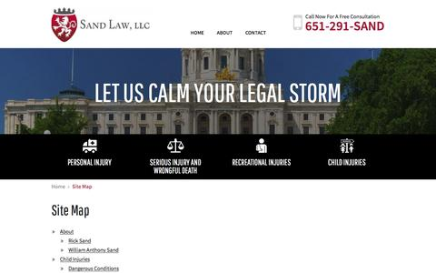 Screenshot of Site Map Page sandlawllc.com - Site Map | Sand Law | White Bear Lake, Minnesota - captured July 22, 2016