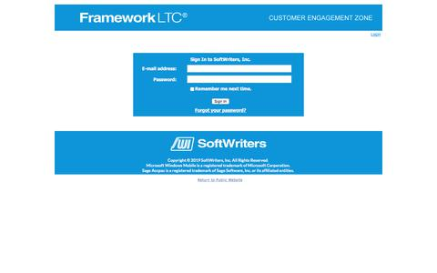 Screenshot of Login Page frameworkltc.com - Login to CEZ - captured Dec. 5, 2019