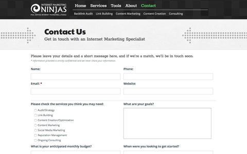 Screenshot of Contact Page internetmarketingninjas.com - Contact Us | Internet Marketing Ninjas Forms - captured Nov. 10, 2019