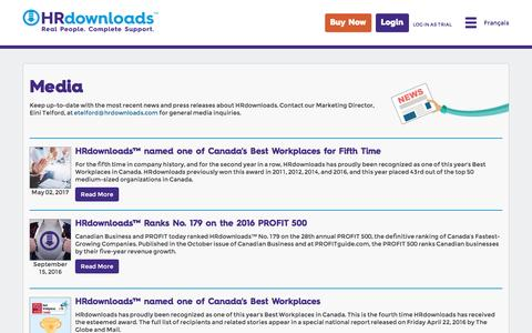 Screenshot of Press Page hrdownloads.com - HRdownloads - captured May 13, 2017