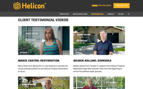 Screenshot of Testimonials Page heliconusa.com - Testimonials — Helicon Property Restoration - captured Oct. 5, 2016