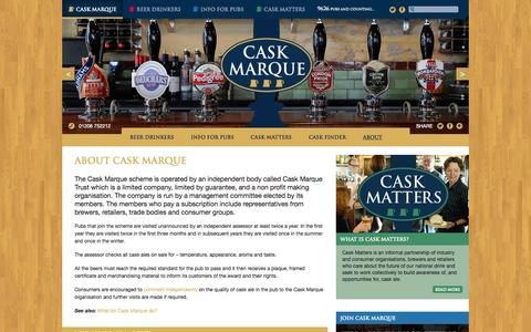Screenshot of About Page cask-marque.co.uk - About - Cask Marque - captured July 4, 2015