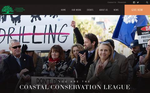 Screenshot of Home Page coastalconservationleague.org - Coastal Conservation League - captured June 30, 2019