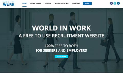 Screenshot of Home Page worldinwork.co.uk - World in Work - Where your next job finds you - captured Sept. 20, 2018