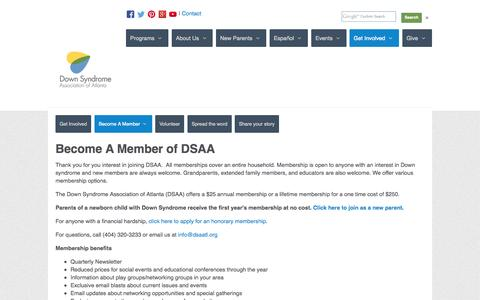 Screenshot of Signup Page dsaatl.org - Become A Member - Down Syndrome Association of Atlanta - captured Oct. 5, 2014