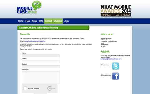 Screenshot of Contact Page mobilecashmate.co.uk - Contact MCM About Mobile Handset Recycling - captured Sept. 19, 2014