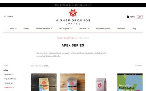 Screenshot of highergroundstrading.com - Apex Series | Higher Grounds Coffee                         – Higher Grounds Trading - captured Dec. 19, 2017
