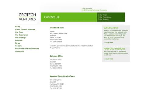 Screenshot of Contact Page grotech.com - Grotech Ventures | Contacts - captured Oct. 3, 2014