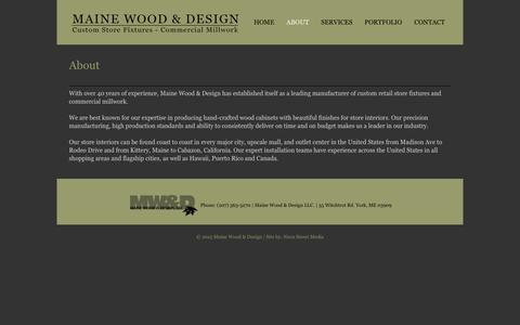 Screenshot of About Page mwdsgn.com - About – Maine Wood & Design - captured Oct. 5, 2017