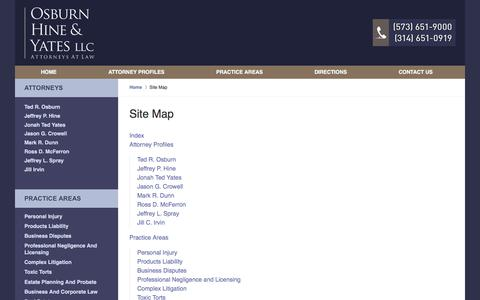 Screenshot of Site Map Page semolaw.com - Site Map :: Cape Girardeau Trial Attorney Osburn, Hine & Yates, LLC - captured Oct. 21, 2017