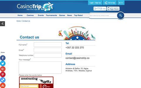 Screenshot of Contact Page casinotrip.co - Contact Us - captured Dec. 21, 2015