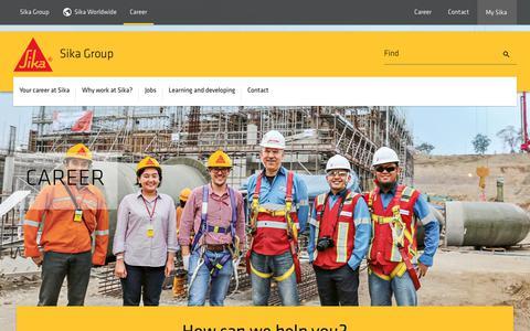 Screenshot of Jobs Page sika.com - Career - captured Aug. 25, 2019