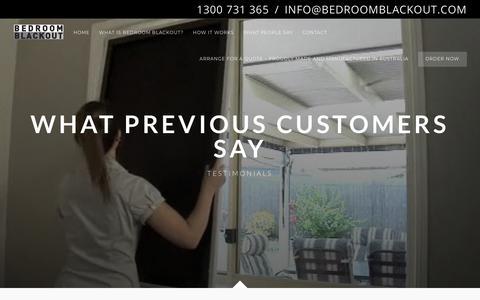Screenshot of Testimonials Page bedroomblackout.com - Testimonials - Bedroom Blackout - captured Oct. 5, 2018
